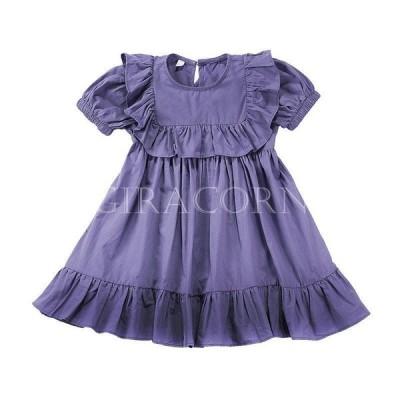 子供 女の子 ワンピース 夏 半袖 紫 膝上 オシャレ カワイイ 爽やか コットン 薄手 柔らか 90から130cm