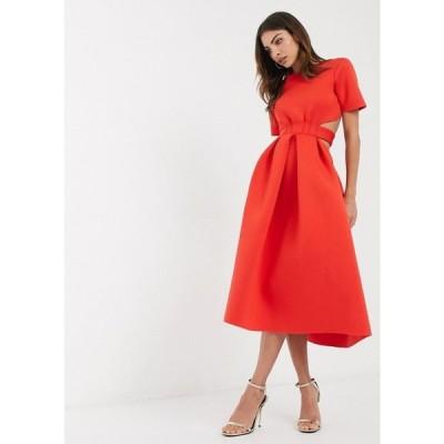 エイソス ASOS DESIGN レディース ワンピース スケータードレス ミドル丈 ワンピース・ドレス t-shirt belted cut out midi skater dress in red レッド