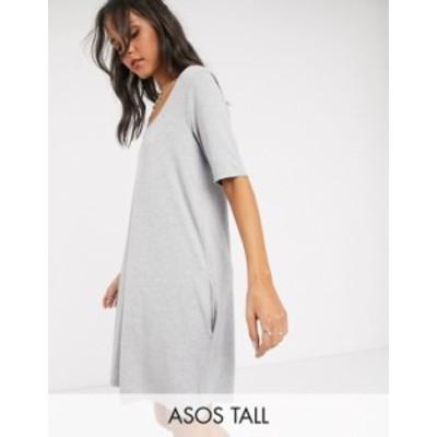 エイソス レディース ワンピース トップス ASOS DESIGN Tall Exclusive swing t-shirt dress with concealed pockets in gray marl Gray
