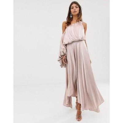 エイソス ASOS EDITION レディース ワンピース ワンピース・ドレス blouson one shoulder dress in satin Mink