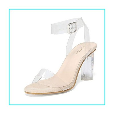Women's Heeled Sandals Ankle Strap Block Chunky High Heel Open Toe Pump Sandals Transparent nude-10【並行輸入品】