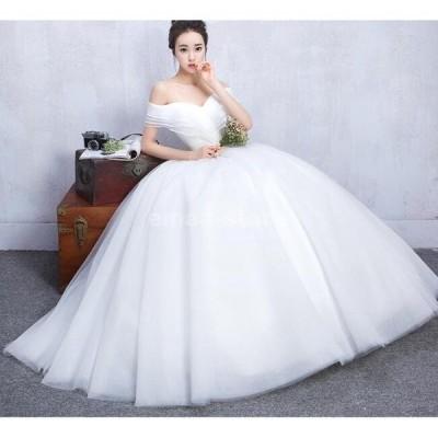 ブライダル ウエディングドレス ロングドレス 結婚式 お花嫁 白 パーティードレス 二次会 ブライダル  ワンピース チュチュ 編み上げ