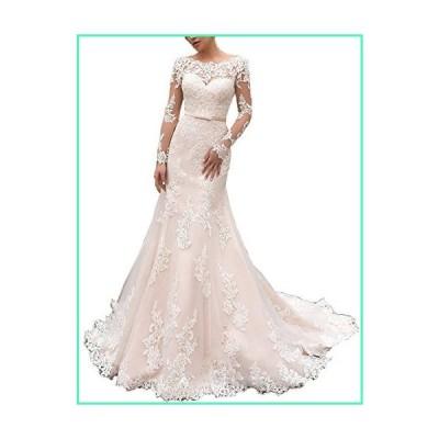Long Sleeve Mermaid Plus Size Wedding Dresses Long for Bride Formal Bridal Gown (All Ivory,18W)並行輸入品