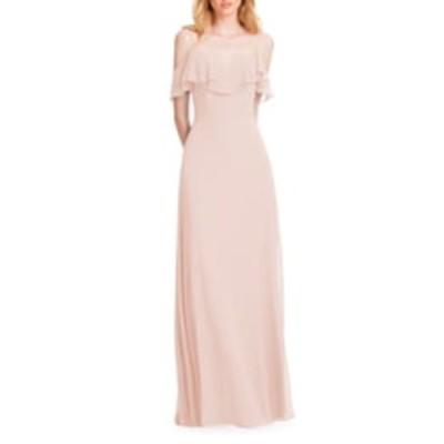 レブコフ ワンピース トップス レディース Ruffle Shoulder Chiffon Gown Pink