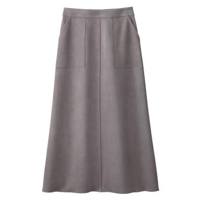 フェイクスエードシリーズ Aラインスカート ライトグレー M