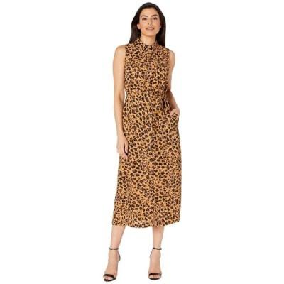 ドナ モルガン Donna Morgan レディース ワンピース ノースリーブ ミドル丈 Sleeveless Buttoned Front Animal Print Midi Crepe Dress Brown Multi