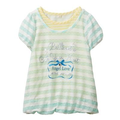 レースボーダー重ね着風Tシャツ(女の子 子供服・ジュニア服) (Tシャツ・カットソー)Kids' T-shirts
