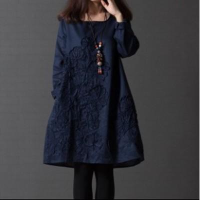 ワンピース ショート丈 刺繍 長袖 ドレス ゆったり #1390