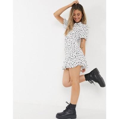 ミス セルフリッジ Miss Selfridge レディース ワンピース シャツワンピース ワンピース・ドレス floral print mini shirt dress in ivory クリーム