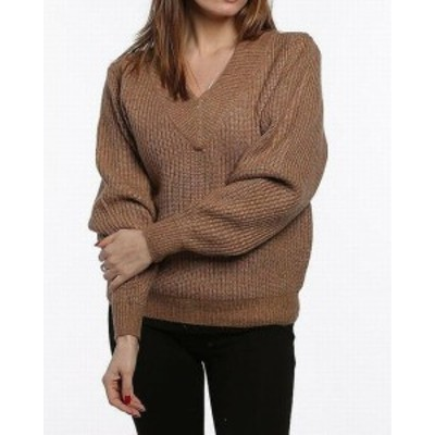 ファッション トップス Catherine Malandrino Womens Brown Size Medium M V-Neck Knit Sweater