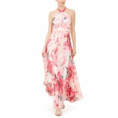 カルバンクライン レディース ワンピース トップス Floral-Print Chiffon Halter Gown Pink Floral