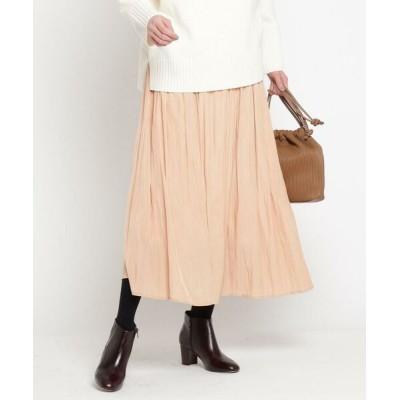 Dessin/デッサン 【XS~L・ウエストゴム】サテンギャザースカート<揺れるたび、美しい光沢感> オレンジ(067) 00(XS)