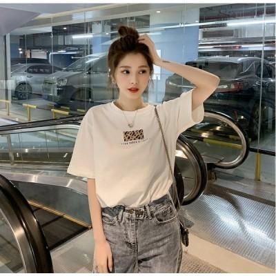 大きいサイズ レディース シンプル レオパード ワンポイント Tシャツ トップス セクシー  送料無料