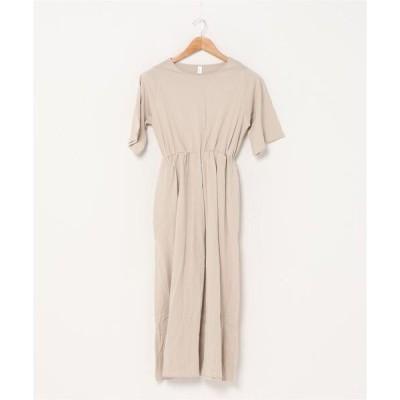 ドレス ゆったり半袖ロングワンピース