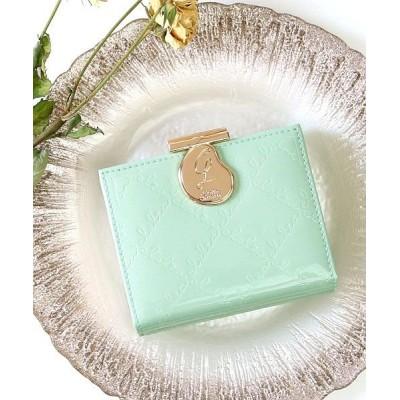 【カッズ】 財布 レディース 極小財布 三つ折り財布 がま口 エナメル ショートウォレット レディース ミント F KAZZU