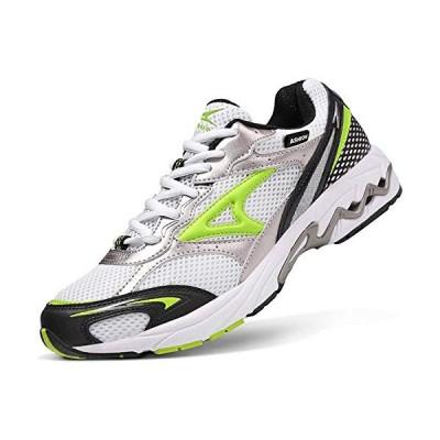 スポーツシューズ メンズ 24.5 白 緑ランニングシューズ レディース 軽量 ウォーキングシューズ 通気 運動靴 クッション性 スニーカー
