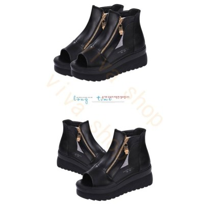 ブーツサンダル オープントゥ 美脚パンプス  厚底靴 痛くない ブーサン バックジップ レディースシューズ  靴 夏 秋 ファッション