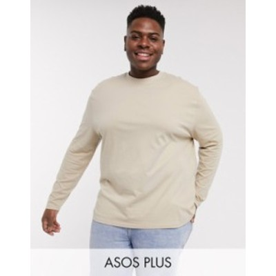エイソス メンズ Tシャツ トップス ASOS DESIGN Plus relaxed long sleeve t-shirt in beige Humus