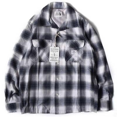 OLD CROW オールド クロウ オンブレチェック オープンカラー 長袖シャツ BLK 送料無料 GLAD HAND グラッドハンド