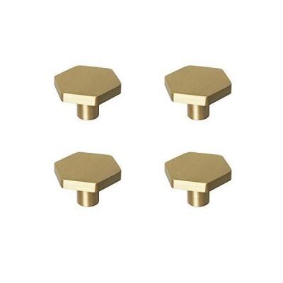 RZDEAL 1.18インチ (30mm) ソリッド真鍮キッチンキャビネットノブ つや消しゴールド六角ハンドルとプルドレッサー引き出しノブ RZ-01