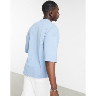 エイソス メンズ Tシャツ トップス ASOS Dark Future oversized T-shirt in heavyweight with logo detail in blue Blues