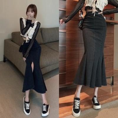 デニムスカート マーメイド ロングスカート 韓国 ファッション 春 レディース ブラックデニム フィッシュテール 裾フレア スリット デニ