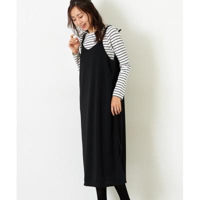 【Green Parks(グリーンパークス)】SET2点 ボーダーロンT+キャミワンピース (ワンピース)Dress