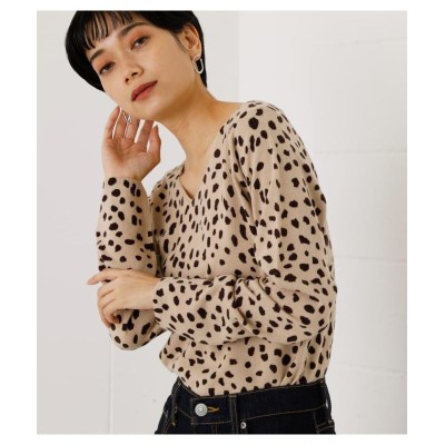 (AZUL by moussy/アズールバイマウジー)2WAY NUDIE LEOPARD KNIT TOPS/レディース 柄BEG5