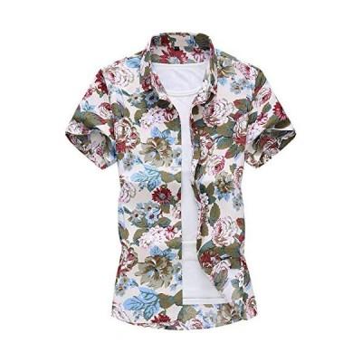[CEEN] アロハシャツ 半袖 メンズ 花柄 大きいサイズ リゾート 和柄 カジュアル (四季の花(白) XL)