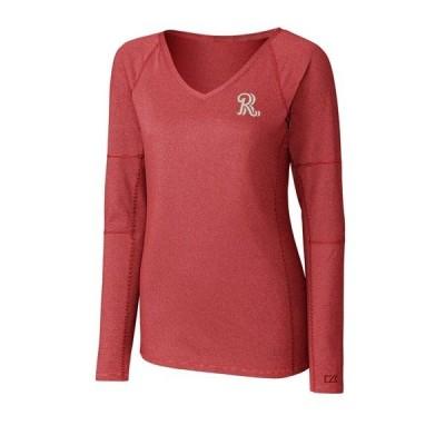 カッターアンドバック レディース Tシャツ トップス Frisco RoughRiders Cutter & Buck Women's Victory V-Neck Long Sleeve T-Shirt