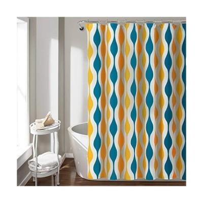 """(新品) Lush Decor Mid Century Geo Shower Curtain, 72"""" x 72"""", Turquoise & Orange"""