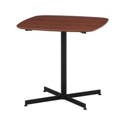 カフェテーブル/サイドテーブル 〔75×75cm ブラウン〕 スチール アジャスター付き 『レグナ』 〔リビング ダイニング 店舗〕