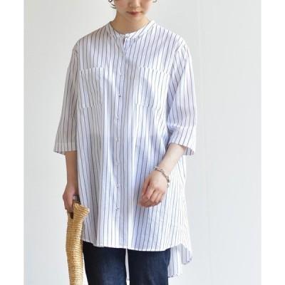 シャツ ブラウス フランス綾ノーカラーシャツチュニック