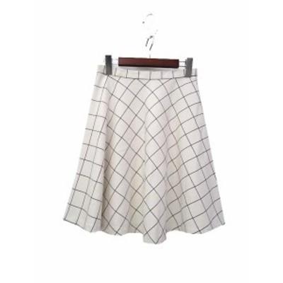 【中古】ジェルアーミー juelamy スカート 9AR 白 ホワイト チェック柄 ミニ フレア レディース