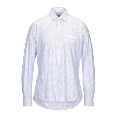 FRED MELLO ストライプ柄シャツ  メンズファッション  トップス  シャツ、カジュアルシャツ  長袖 スカイブルー