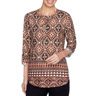 ルビーアールディー レディース Tシャツ トップス Textured Safari Geo Print Twill Knit 3/4 Roll-Tab Sleeve Top