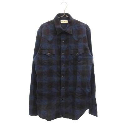 SAINT LAURENT PARIS (サンローランパリ) 17SS Western check shirt ウェスタンチェックシャツ 長袖シャツ ブルー 449898