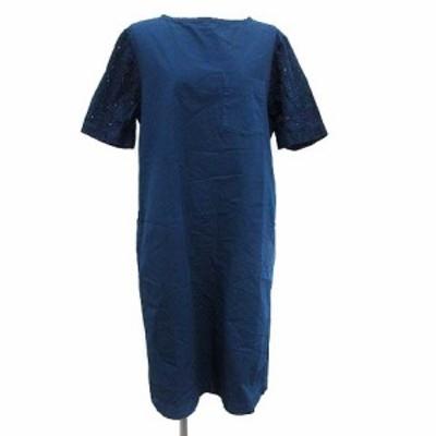 【中古】グランマママドーター GRANDMA MAMA DAUGHTER ワンピース ロング 半袖 コットン 1 紺 ネイビー レディース