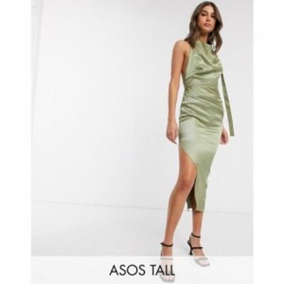 エイソス ASOS Tall レディース ワンピース ミドル丈 ワンピース・ドレス ASOS DESIGN Tall halter drape detail midi dress with buckle