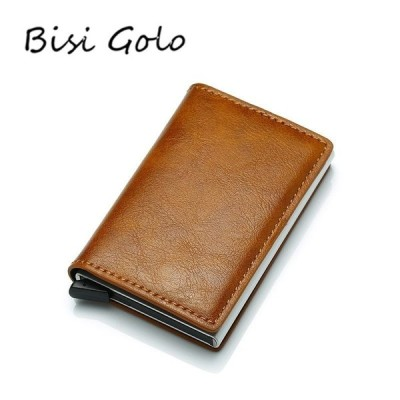 BISI GORO Antitheft メンズ ビンテージ Credit Card Holder Blocking Rfid Wallet 革 兼用 Sec