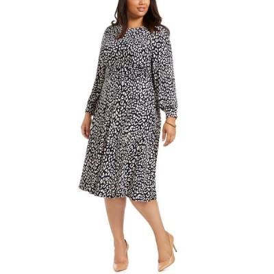 ジェシカハワード ワンピース トップス レディース Plus Size Printed Long-Sleeve Dress Navy Tan