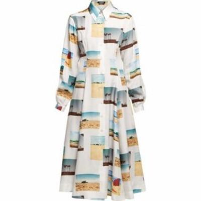 カルバンクライン Calvin Klein レディース ワンピース シャツワンピース ワンピース・ドレス Postcard-print silk shirtdress White