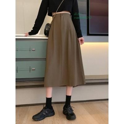 2020 秋 新しいデザイン 韓国風 着やせ ハイウエスト ファッション 全2色 ロング スカート