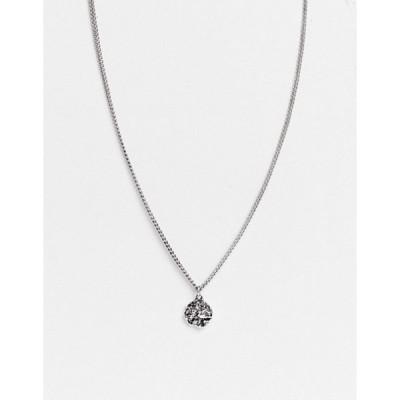 アイコンブランド メンズ ネックレス・チョーカー アクセサリー Icon Brand round pendant necklace in silver