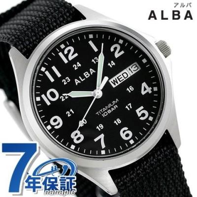 セイコー アルバ メンズ 腕時計 カレンダー ナイロンベルト AQPJ404 SEIKO ALBA クオーツ ブラック