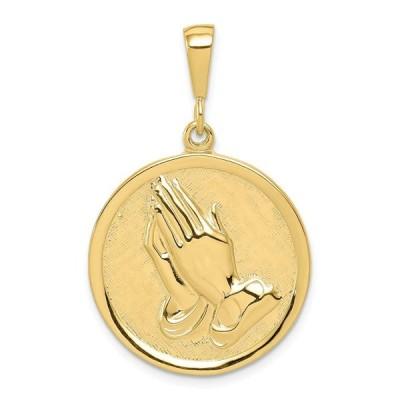 10 kイエローゴールド祈り手リバーシブルセレニティ祈りペンダントチャームネックレス宗教hファインジュエリーギフト用女性彼女