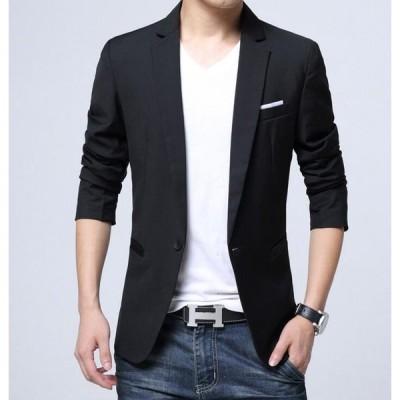 !一つボタン ブラック 長袖メンズジャケット テーラード スーツアウター 春秋冬 カジュアルコート 7サイズ ブレザー