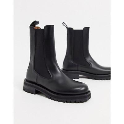 アンドアザーストーリーズ & Other Stories レディース ブーツ チャンキーヒール シューズ・靴 Leather Tall Chunky Flat Boots In Black ブラック