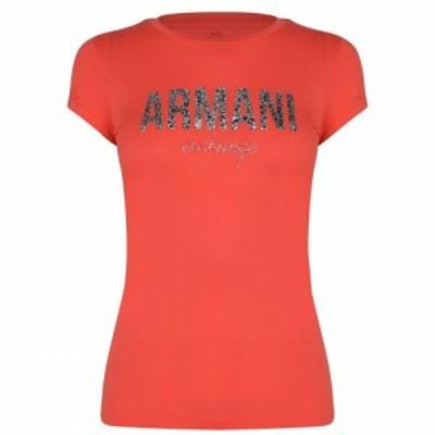 アルマーニ Armani Exchange レディース Tシャツ ロゴTシャツ トップス Crackle Logo T Shirt Sangria