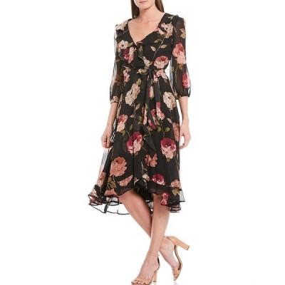 メゾン タラ レディース ワンピース トップス Floral 3/4 Sleeve Chiffon Faux Wrap Midi Dress Blackrose